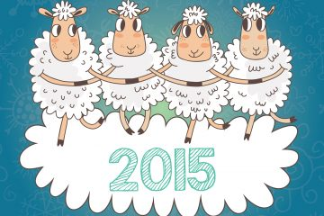 Cartoon Christmas And New Year Vector Card With 2015 Symbol - Ve