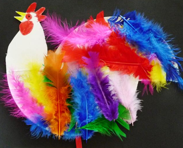 chinese new year rooster and feathers craft
