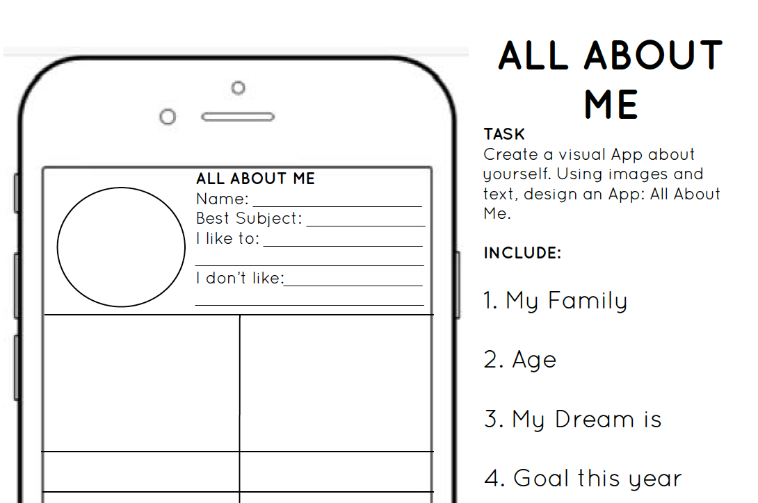 Back To School All About Me Template Creative Chinese